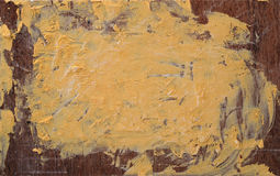 Żółta farba na drewnianej desce Zdjęcia Royalty Free