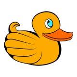 Żółta gumowa kaczki ikona, ikony kreskówka Zdjęcia Royalty Free