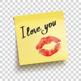 Żółta kleista notatka z teksta ` kocham ciebie! ` wektor royalty ilustracja