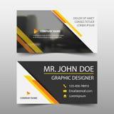 Żółta korporacyjna wizytówka, imię karty szablon, horyzontalny prosty czysty układu projekta szablon, Biznesowy sztandaru szablon royalty ilustracja