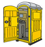 Żółta mobilna toaleta ilustracji