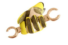 Żółta rękawiczka z wyrwaniem fotografia royalty free