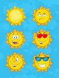 Żółta słońce kreskówka Emoji Stawia czoło charakteru - set 1 Kolekcja Zdjęcia Royalty Free