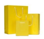 Żółta torba na zakupy prezenta torba zdjęcie royalty free