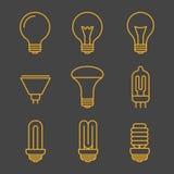 Żółte żarówka konturu ikony royalty ilustracja