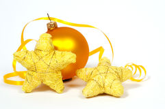 Żółte bauble i koloru żółtego gwiazdy Obraz Stock
