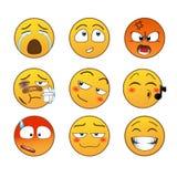 Żółte emocje ustawiać Obrazy Stock