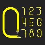 Żółte obcieknięcie farby liczby Zdjęcie Stock