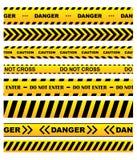 Żółte ostrzegawcze taśmy ustawiać Zdjęcie Royalty Free