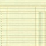 Żółte rocznika wykresu lub księgi głównej papieru liczby Fotografia Stock