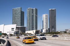 Żółte taksówki na moscie w Miami Fotografia Royalty Free