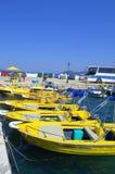 Żółte taxi łodzie Fotografia Royalty Free