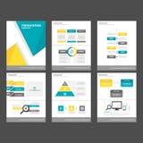 Żółtego błękitnego wieloboka infographic element i ikony prezentaci szablonów płaski projekt ustawiamy dla broszurki ulotki ulotk Obraz Royalty Free