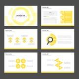 Żółtego Infographic elementów ikony prezentaci szablonu płaski projekt ustawia dla reklamowej marketingowej broszurki ulotki Obraz Royalty Free