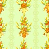 Żółtego irysa kwiatu bezszwowy deseniowy tło Obrazy Stock
