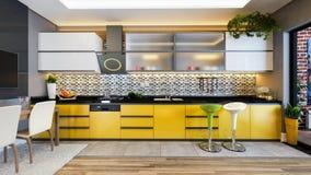 Żółtego koloru projekta wystroju kuchenny pomysł Fotografia Royalty Free