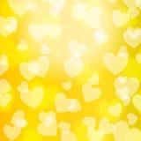 Żółtego złota Bokeh serce, wzór, Fotografia Royalty Free