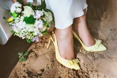 Żółtej i białej panny młodej bukiet Fotografia Stock