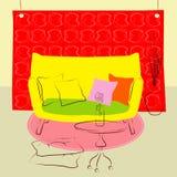 Żółtej kanapy żywy pokój ilustracja wektor