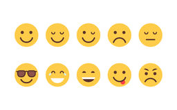 Żółtej kreskówki twarzy Emoji emoci ikony Różnej kolekci Ustaleni ludzie Zdjęcie Stock