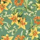 Żółtej leluja kwiatu akwareli zieleni seameless wzór Obraz Royalty Free