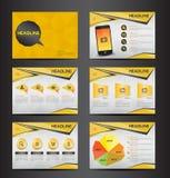 Żółtej wielocelowej prezentaci infographic element i żarówka symbolu ikony szablonu płaski projekt ustawiamy dla reklamowego mark Fotografia Stock