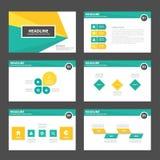Żółtej zieleni prezentaci szablonu elementów ikony płaski projekt ustawia dla reklamowej marketingowej broszurki ulotki Zdjęcie Royalty Free