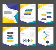Żółtej zieleni prezentaci szablonu sprawozdania rocznego broszurki ulotki elementów ikony płaski projekt ustawia dla reklamowej m Fotografia Stock