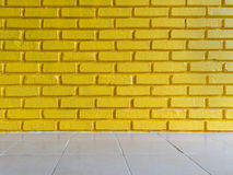 Żółty ściana z cegieł tekstury tło Obraz Royalty Free
