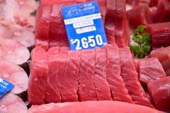 Żółty żebro tuńczyk dla sprzedaży w rynku Obraz Royalty Free