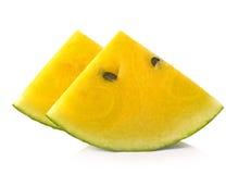 Żółty arbuz na whithe tle obraz stock