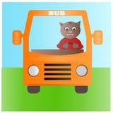 Żółty autobus z kota kierowcą na sposobie ilustracja wektor