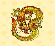 Żółty Azjatycki smok na kryształach Zdjęcie Stock
