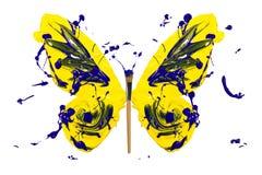 Żółty błękitny farby pluśnięcie zrobił motyla Obrazy Royalty Free