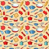 Żółty bezszwowy deseniowy kreskówki kuchni artykuły ilustracja wektor