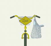 Żółty bicykl z miłość znakiem Zdjęcie Stock