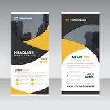 Żółty czarny Biznesowy Stacza się Up sztandaru projekta płaskiego szablon, Abstr ilustracji