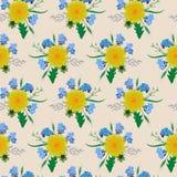 Żółty dandelion bukieta natury wzoru tło Zdjęcia Stock