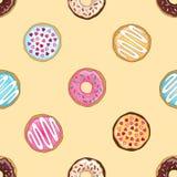 Żółty donuts wzór Zdjęcia Royalty Free