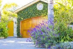 Żółty drewniany garażu drzwi z zielonymi roślinami obrazy stock
