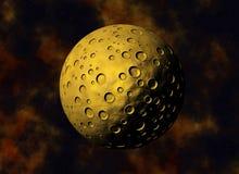 Żółty duży meteoryt z kraterami na astronautyczni tła Fotografia Royalty Free
