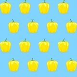Żółty dzwonkowego pieprzu zapasu wzór na aqua błękitnym tle dla tapety Obrazy Stock