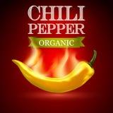 Żółty gorącego chili pieprz na czerwonym tle Zdjęcie Stock
