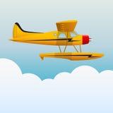 Żółty hydroplan ludzie cukierniani samolotów, zrelaksujcie się brzegu morza niebo niebieski obraz nieba tęczową chmura wektora royalty ilustracja
