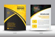 Żółty i czarny sprawozdanie roczne szablonu pokrywy projekt Obraz Stock