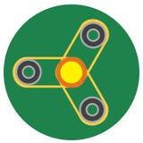 Żółty kądziołek z przejrzystym centrum płaski styl Wektorowy wizerunek na round ciemnym greenbackground Element projekt, interfej Fotografia Royalty Free