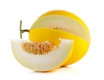 Żółty kantalup na białym tle fotografia stock