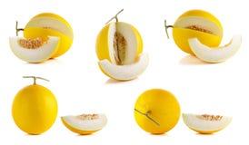 Żółty kantalup odizolowywający na białym tle obrazy royalty free