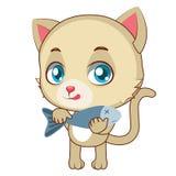 Żółty kot z ryba Obrazy Stock