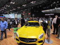 Żółty Mercedes-Benz 2015 Nowy Jork Międzynarodowy Auto przedstawienie Fotografia Royalty Free